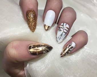 Nail art supplies etsy uk copper and marble stiletto false press on nails prinsesfo Images