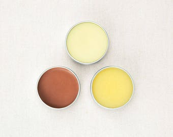 Lip Balm Set of 3 // Handmade with All Natural Herbal Ingredients // Palm Oil Free