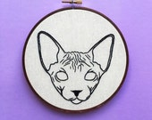 Sphynx Line Art - Contemporary Embroidery