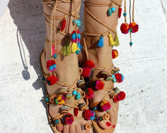 "Pom Pom - Boho tie up sandals ""COPACABANA"" - Gladiator style, Greek leather sandals - Pom Pom sandals, Women Sandals"