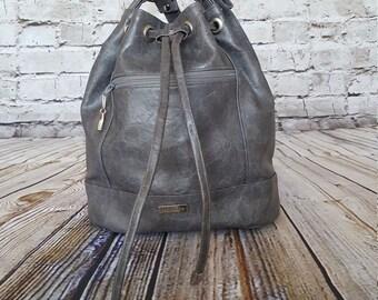 Gray Drawstring Bucket Bag