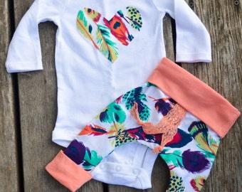 Baby girl aztec outfit, harem pants, harem pants, baby pants, baby girl pants, feather outfit