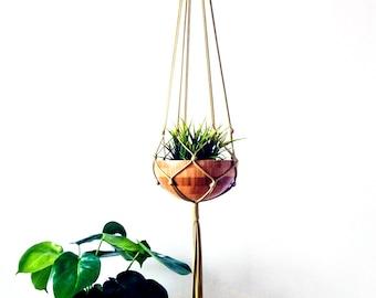 Gold Macrame Plant Hanger, Macrame Pot Holder, Plant Holder. Hanging Planter, Modern Macrame, Pot Holder, Mothers Day