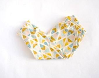 SALE Trendy Baby Harem Leggings. Unisex Baby Leggings. Geometric Print Leggings for Babies. Handmade in the UK. Gold, Blush and Powder Blue.