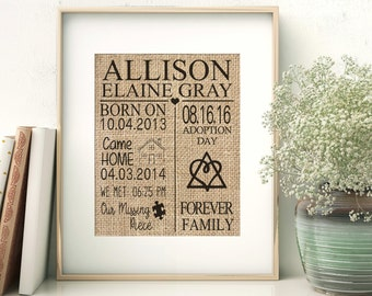 Adoption Gift, Personalized Adoption Gift, Personalized Gift, Burlap Print, New Parents Gift, Missing puzzle piece