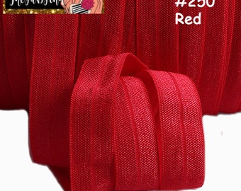 "5/8"" inch Red #250 FOE Fold Over Elastic - Solid Color - By the Yard- Shiny DIY For Headband"
