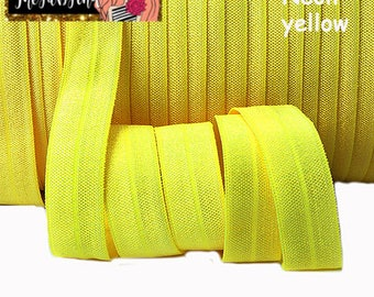"5/8"" inch NEON Yellow FOE Fold Over Elastic - Solid Color - By the Yard- Shiny DIY For Headband"