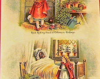 1901 Little Red Riding Hood Matted Antique Print