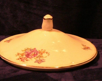 Vintage Replacement Lid for Ceramic Floral Jar or Dish