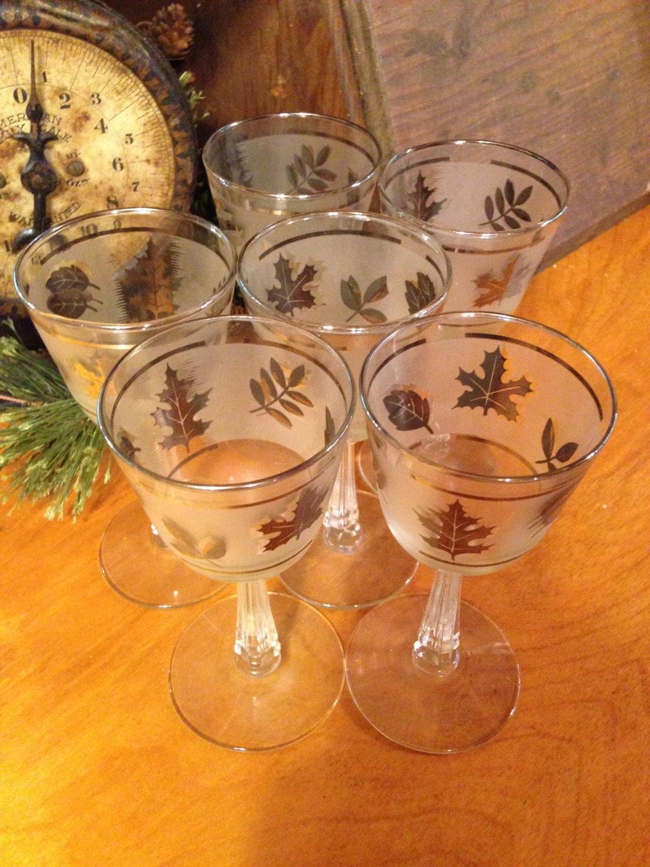 Vintage Libbey Wine Glasses Platinum Leaf Pattern Etched
