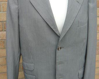 Vintage 1960's Bum Freezer Grey and White Striped Blazer