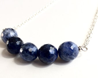 Sodalite Necklace, Blue Beaded Necklace, Sapphire Necklace, Disco Ball, Deep Blue Gemstone, Trendy Necklace, Fashion Jewelry, Minimalist