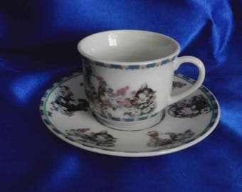 """Cup & Saucer """"Kitterns""""  Celebrating Animals / Comfronting Cruelity Worldwide, by The Humane Society"""