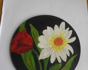 Daisy & Tulip on Welsh Slate Hand painted Wall hanging plaque.