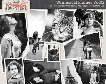 Frames, digital download, digital scrapbooking, torn edges, ripped, torn, clipping mask, photo mask, layered torn frame templates