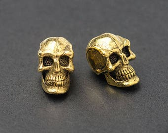 3D Skull Beads, Gold Skull Beads, Spooky Beads, Vertical Hole, Antique Gold, Made in the USA, 8x6mm, 2Pc