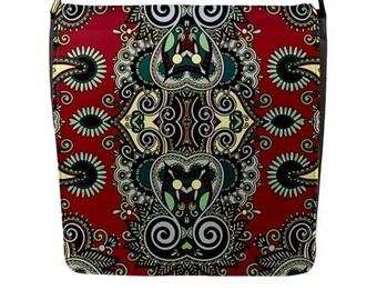 Designer Messenger Handbag satchel bag Indian owls batik Removable interchangeable Flap cover black Red