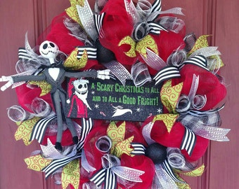 Jack Skellington Christmas wreath. Christmas decor. Christmas wreath. Nightmare before Christmas wreath. Jack Skellington decor.