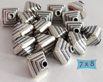 Sterling Silver Bicone Pyramid Beads--3 Pcs | BW211-3