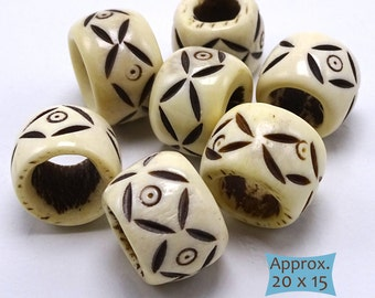Extra Large Hand Carved Bone Ring Beads--1 Pc | 20-BN261-1