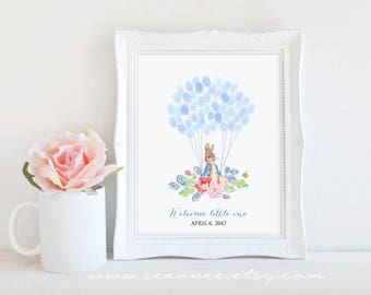 Bunny Fingerprint guestbook Alternative, Easter day Rabbit Thumbprint guest book, Peter rabbit Baby shower gift, Birthday gift, Digital file