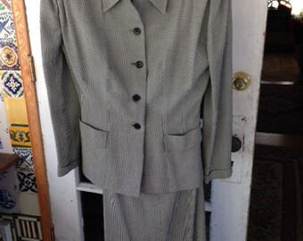 40's black and white houndstooth skirt suit