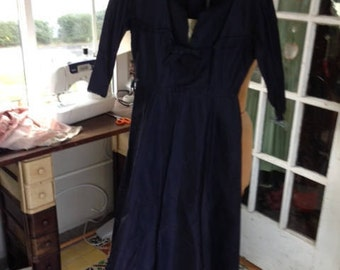 40's navy blue rayon taffeta fit and flare dress