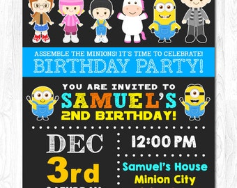 Minion Invitation, Minion Birthday Invitation, Minion Party Invitation