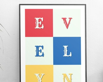 Evelyn, Evelyn gift, Evelyn print, Evelyn personalized gift, girls nursery, girls baby shower gift, girls bedroom decor, girls birthday gift