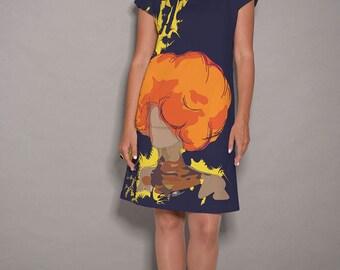 Blue dress, Orange dress, women dresses, artist dress, Party dress, designer dress, elegant dress, midi dress, summer dresses, spring dress