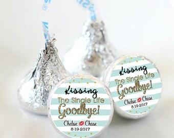 108 Kissing the Single Life Goodbye Hershey Kiss Stickers  - Bridal Shower Kiss Labels - Bachelorette Kiss Labels - Bachelorette Party Decor