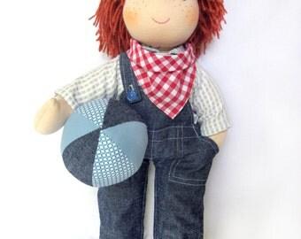 """13""""(33 cm) Waldorf Doll Boy.Cloth doll-handmade doll-Steiner doll-waldorfpuppe-rag doll-soft- birthday gift-organic doll"""