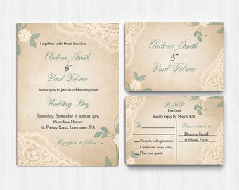 DIGITAL Sage Green Wedding Invitation, sage wedding invite, Printable Digital file, Wedding Invitation, ivory  Invite, response card, lace