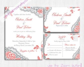 coral grey wedding invitation printed coral lace wedding invite grey wedding invitation invite - Coral And Grey Wedding Invitations
