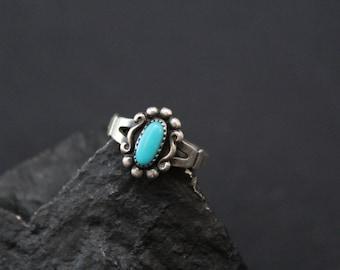 Sterling Silver Native American Navajo Pinky Ring, Navajo Turquoise Ring, Small Sterling Silver Turquoise Ring, Southwestern Sterling Ring