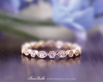 2.0mm Art Deco Eternity Ring-Brilliant Cut Stones-Stacking Ring-Milgrain Marquise&Hexagon Shaped-Rose Gold Plated-Sterling Silver [6216RG]