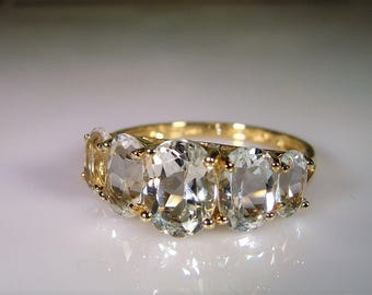 10K Gold Ring, 5 Stone Ring, White Topaz Ring, Anniversary Ring, Topaz Ring, 5 Gem Ring, Wedding Ring, Promise Ring, Vintage Ring – Size 8