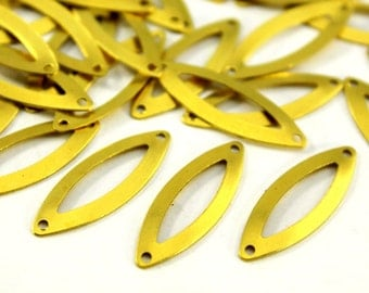 25 pcs 9x27 mm Raw Brass Marquise Charms
