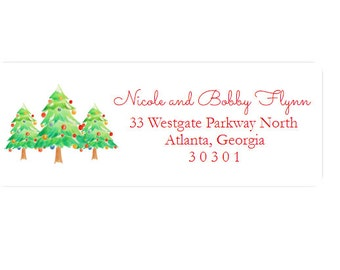 Christmas Return Address Labels - Stickers - Christmas Tree - Custom - Personalized - Christmas Card Labels