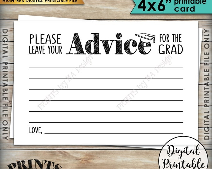 "Advice for Graduate, Please Share your Advice with the Graduate Advice Cards, Grad Advice, Graduation Party, 4x6"" Printable Instant Download"
