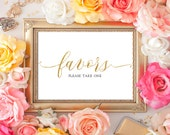INSTANT DOWNLOAD Wedding Sign Favors Please take one 5x7 Gold Glitter Calligraphy Favors Sign Wedding Ceremony Printable Sign 300dpi