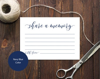 PDF Navy Blue 3,5x5 Share a memory card INSTANT DOWNLOAD Memorial card Memory Card Advice for newlyweds calligraphy Cards Printable