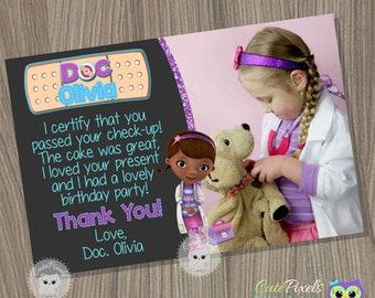 Doc McStuffins Thank You Card, Doc McStuffins Birthday, Doc McStuffins Party, Doctor Thank You Card, Doc Thank You Card, Birthday Invitation