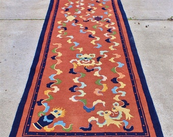 Extraordinary Antique Chinese Zen Buddhist Hand Knotted Wool Peking Rug - Runner 12' x 3' Rare Quality Full Pile