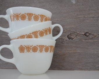 Set of 3 Butterfly Gold Pyrex Cup / Corelle / Vintage