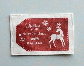 Christmas quilt label, Christmas Label, Winter fabric label, Handmade fabric label, blanket label, personalized label, cotton label, C1