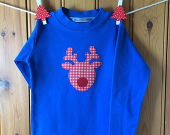 Christmas jumper - boys Christmas top - Rudolph top - Christmas sweater - boys Christmas outfit - boys Xmas clothing - Yew Tree Stitches