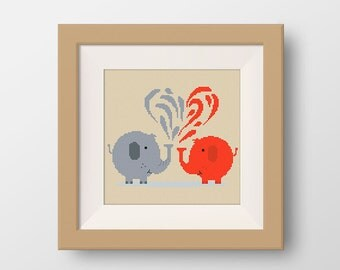 BUY 2, GET 1 FREE! Elephants Cross Stitch Pattern, pdf counted cross stitch pattern, Animals cross stitch pattern, Instant Download, #P044