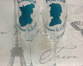 Disney-  The Little Mermaid Ariel & Eric Personalised Champagne Glasses Wine Glasses Gift Boxed Set of 2 Glasses Wedding Gift Christmas Gift