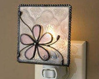 Whimsical Floral Stained Glass Nightlight